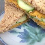 Hummus & Grated Carrot Sandwich