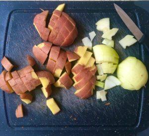 chickpea crumble - chopped veg
