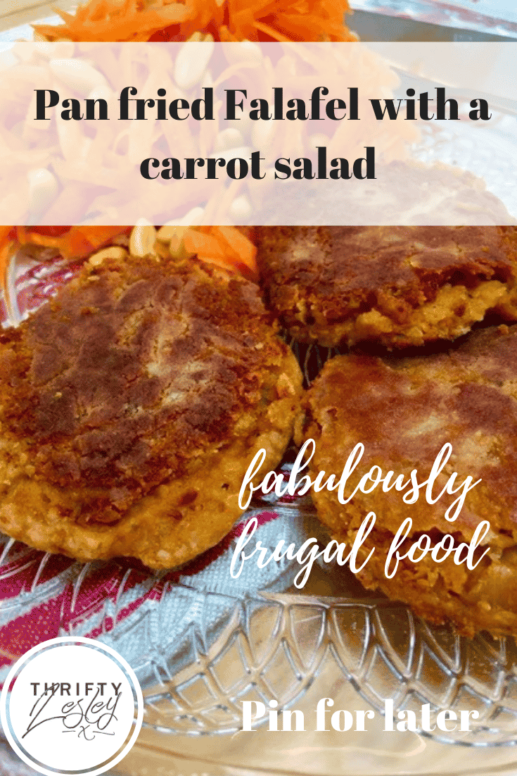 Pinterest image for pan fried falafel with carrot salad