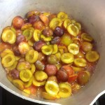 Plums in jam pan