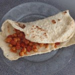 Chorizo, chickpea and tomato in a flatbread, 47p a serving