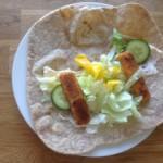 Fishy Tortilla, 19p plus salady bits