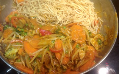 Peanut Butter Noodles. Add chicken or fish, or keep it vegan