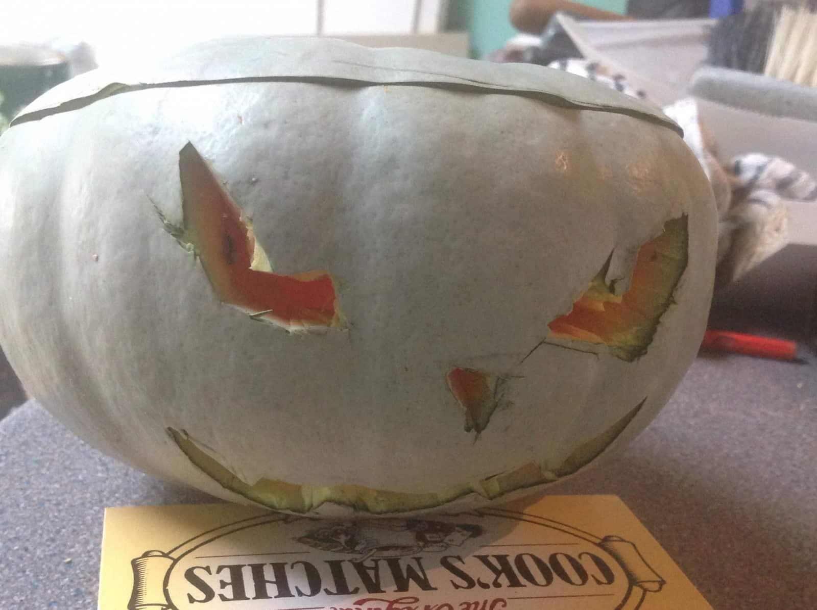 percy pumpkin - a carved blue skinnedpumpkin