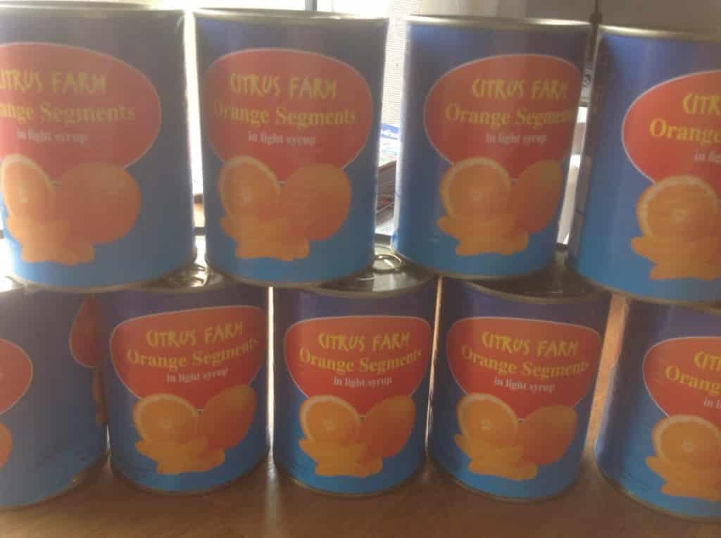 tins of mango pulp