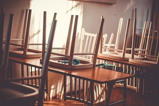 Chairs on desks