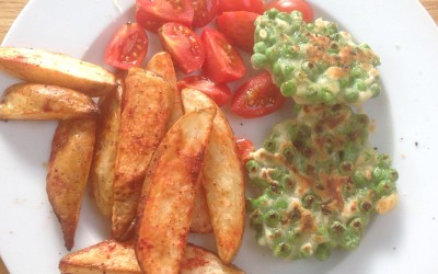 Meal plan 10 – Pea fritters and chips, 17p, vegan
