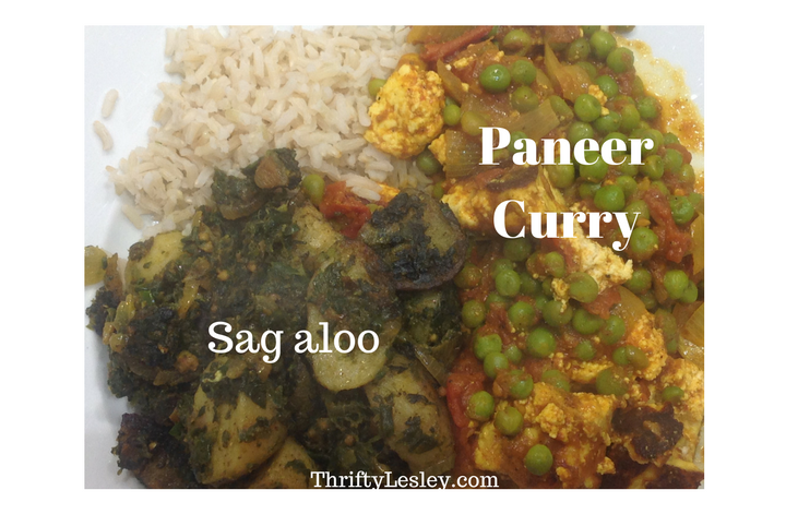 Paneer Curry & Sag Aloo