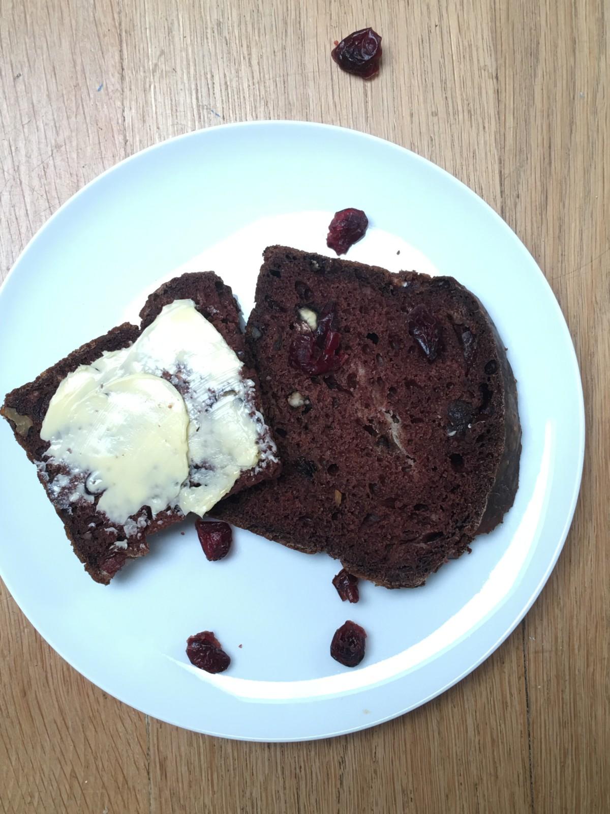 Sugar Free Chocolate, Cranberry, Walnut Tea Bread 2