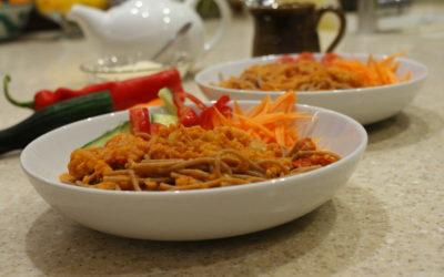 red lentil ragu on spaghetti