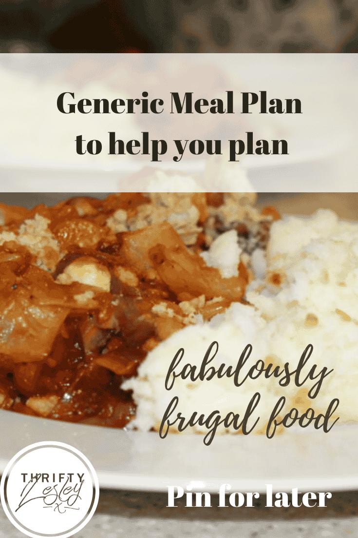 generic meal plan