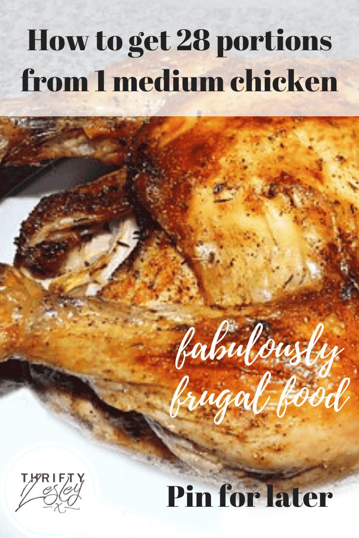 28 portions from 1 medium chicken