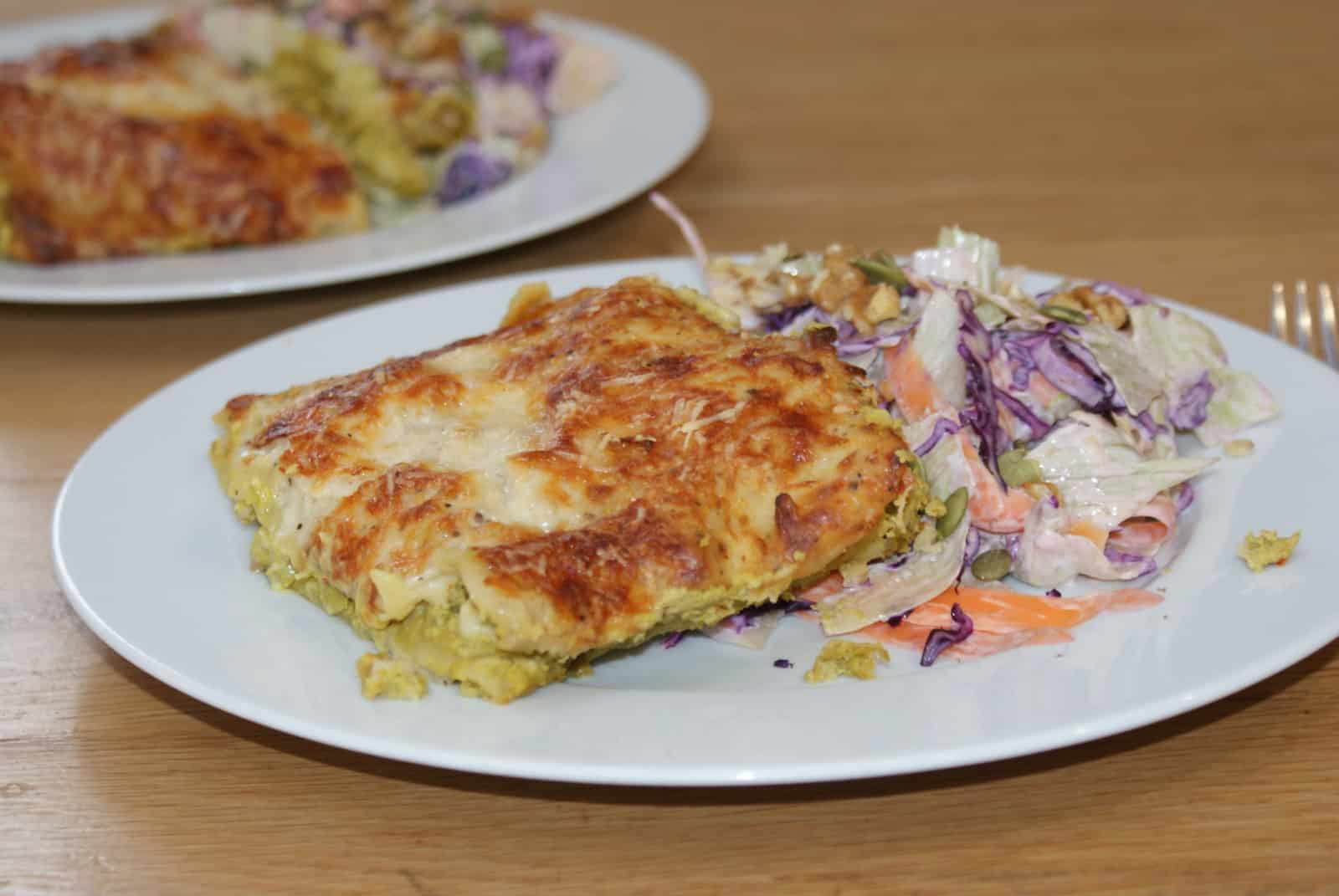 green pea hummus lasagna, a cheap family recipe