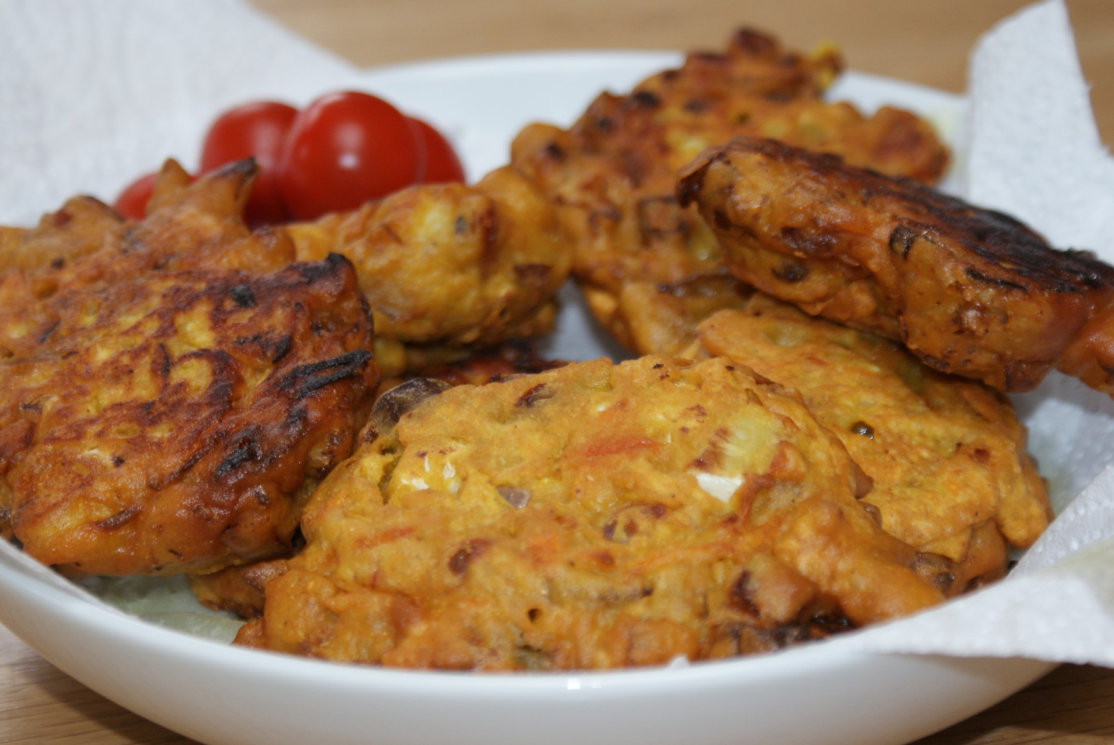spiced vegetable fritters - a cheap family meal