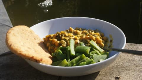 chickpea, mango and coconut curry