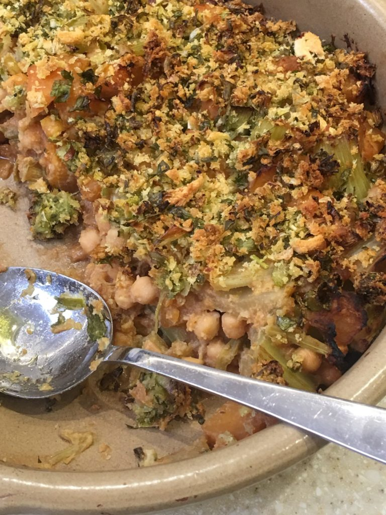 celery, swede and chickpea bake