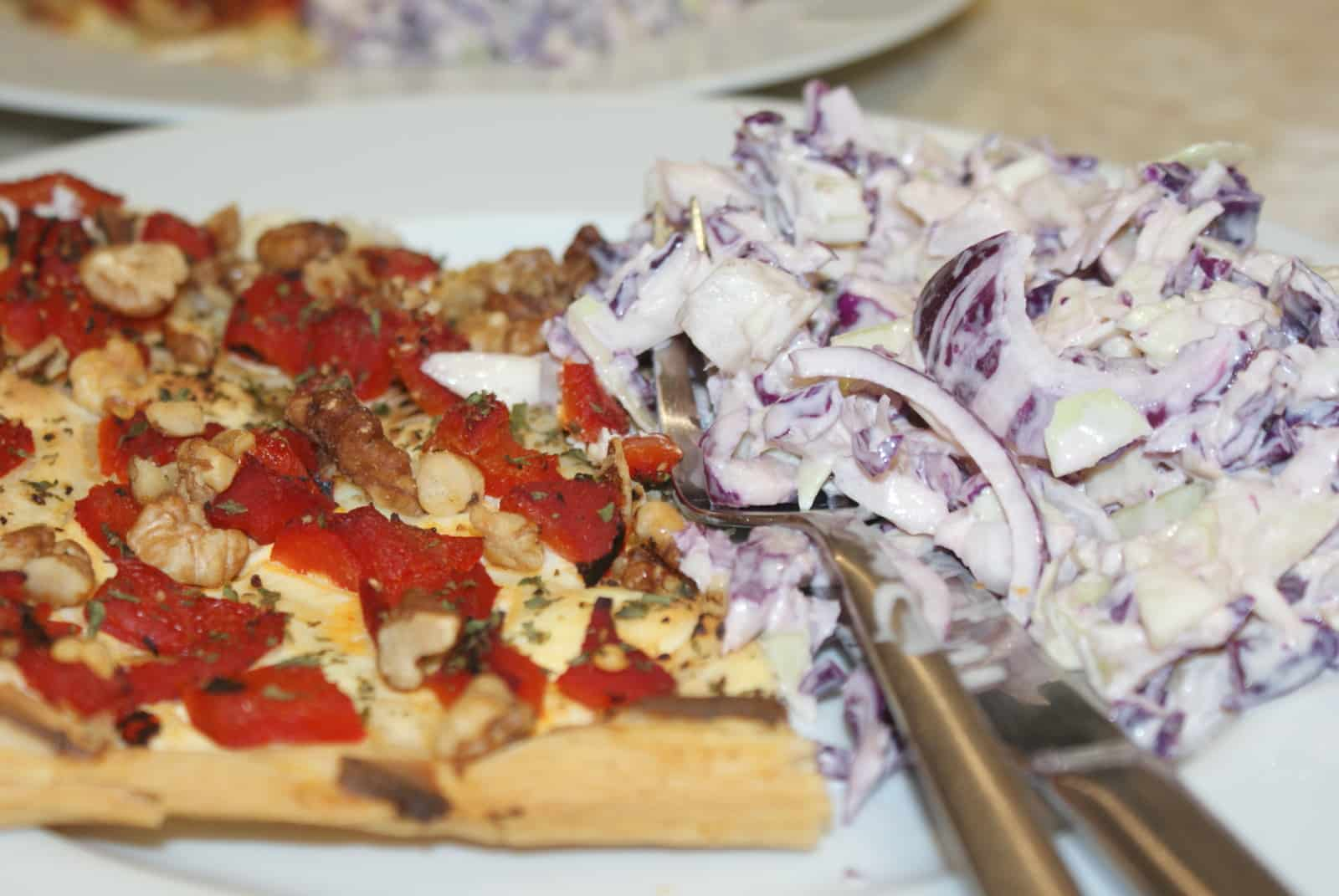 red pepper and walnut tart