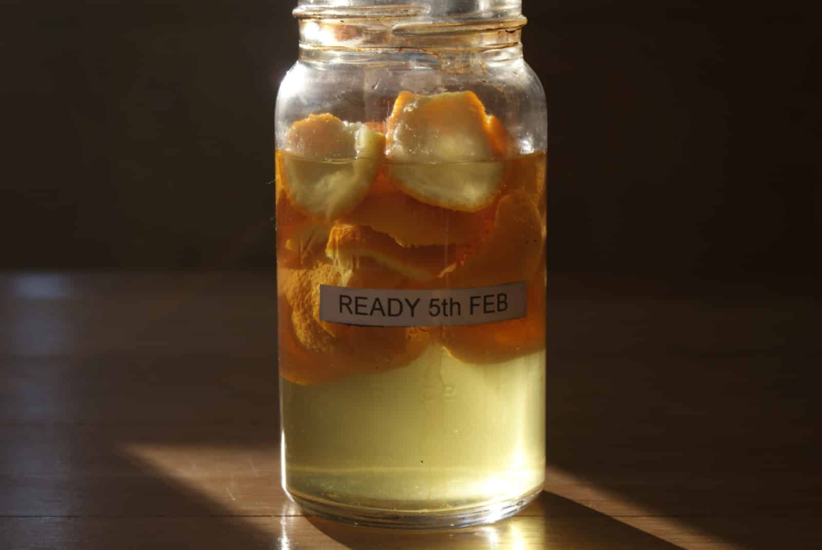orange peel in white vinegar
