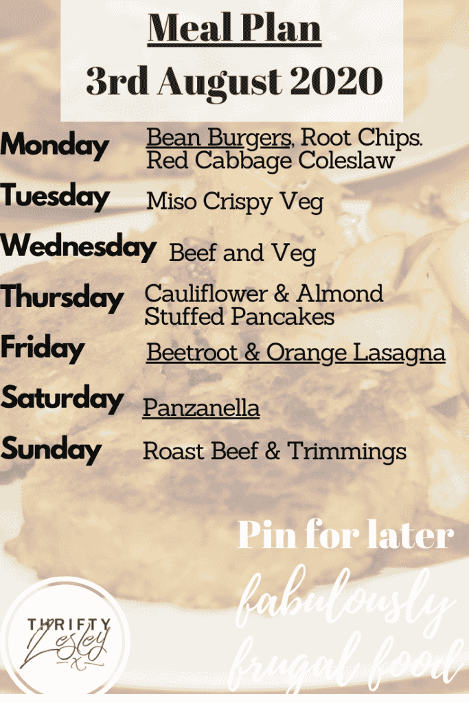 meal plan for week beg 3rd August 2020