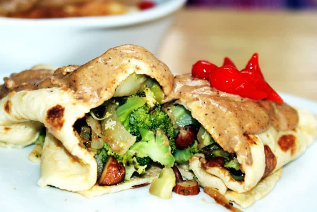broccoli and almond stuffed pancakes