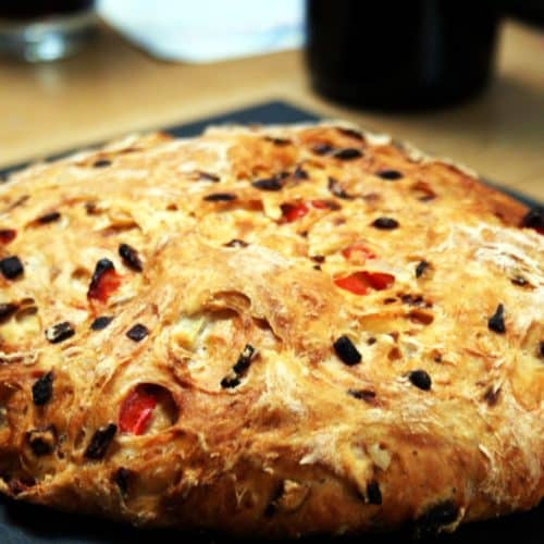 red pepper and onion loaf