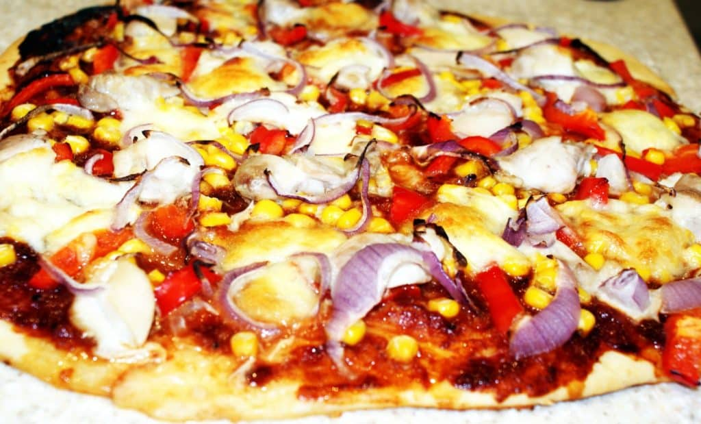 close up of a whole BBQ pizza