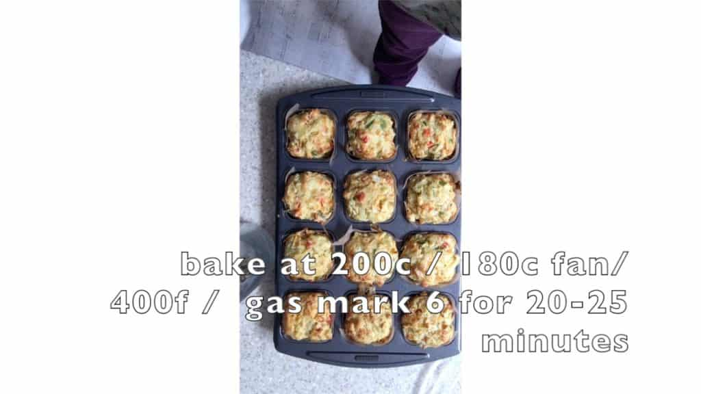 Vegetable Muffins - mix in tin, baked