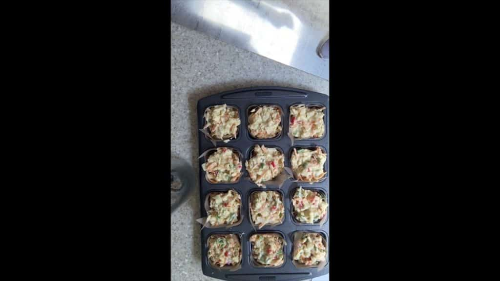 Vegetable Muffins - mix in tin, unbaked