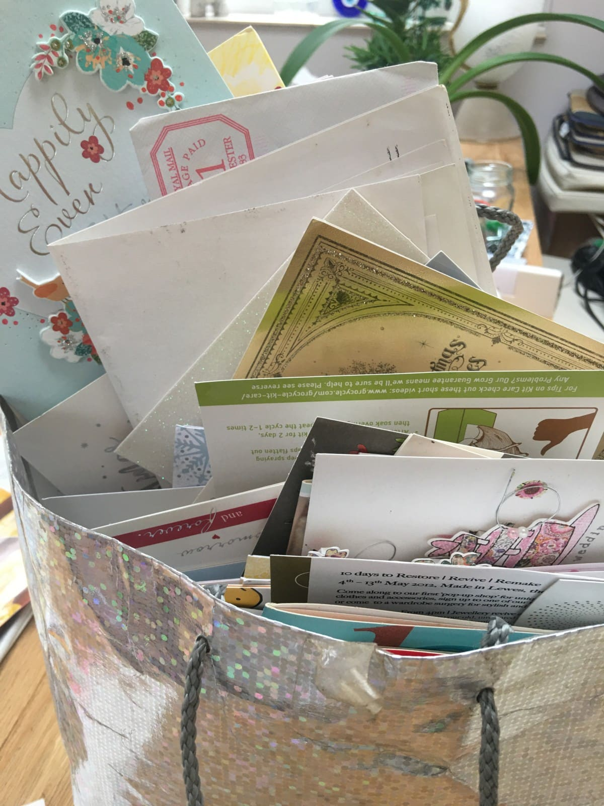 carrier bag of old greetings cards