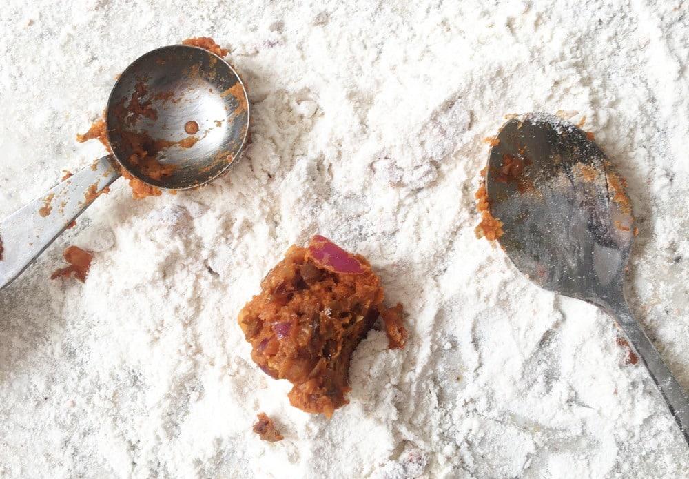 spiced lentil balls - the tools to make mixture into balls