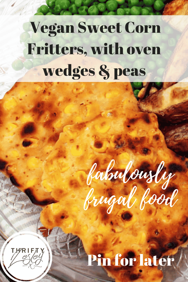 a Pinterest image for vegan sweetcorn fritters