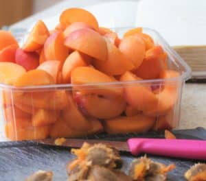 halved and stoned fresh apricots