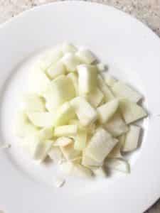 chopped onion on a plate