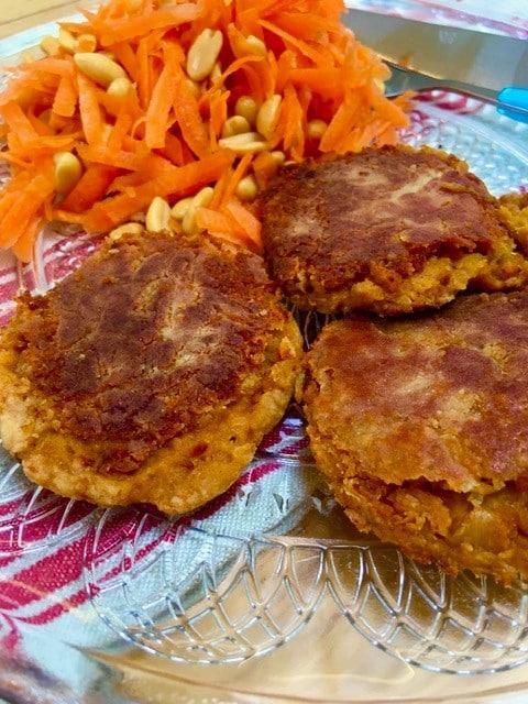 pan fried falafel and carrot salad