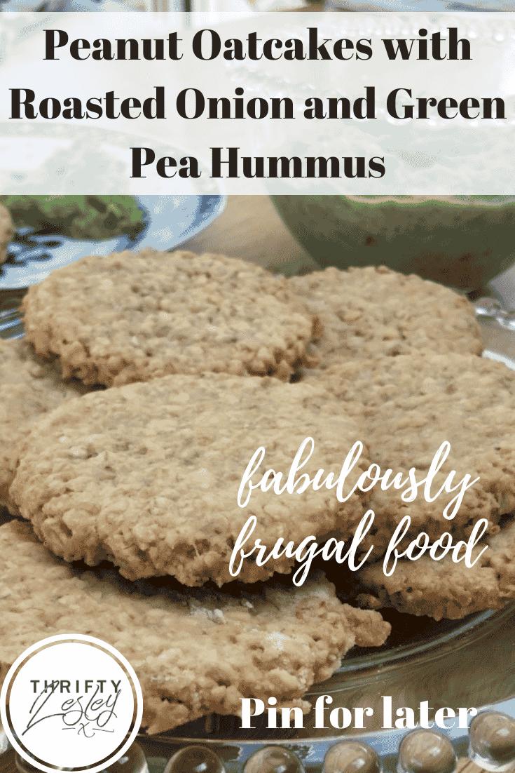 Peanut Oatcakes with Onion and Green Pea Hummus