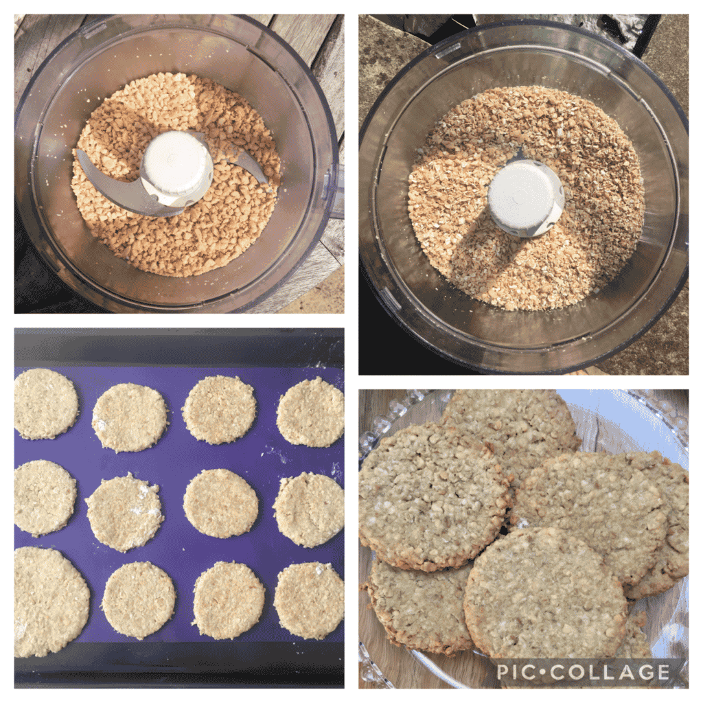 peanut oatcakes being made