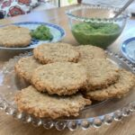Peanut Oat Cakes with Roasted Onions and Green Pea Hummus