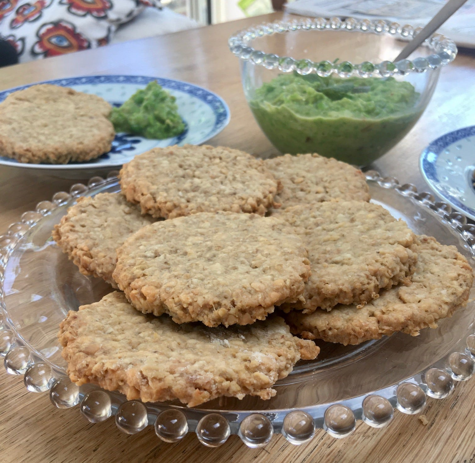 peaut oatcakes - on a plate with onion and peas