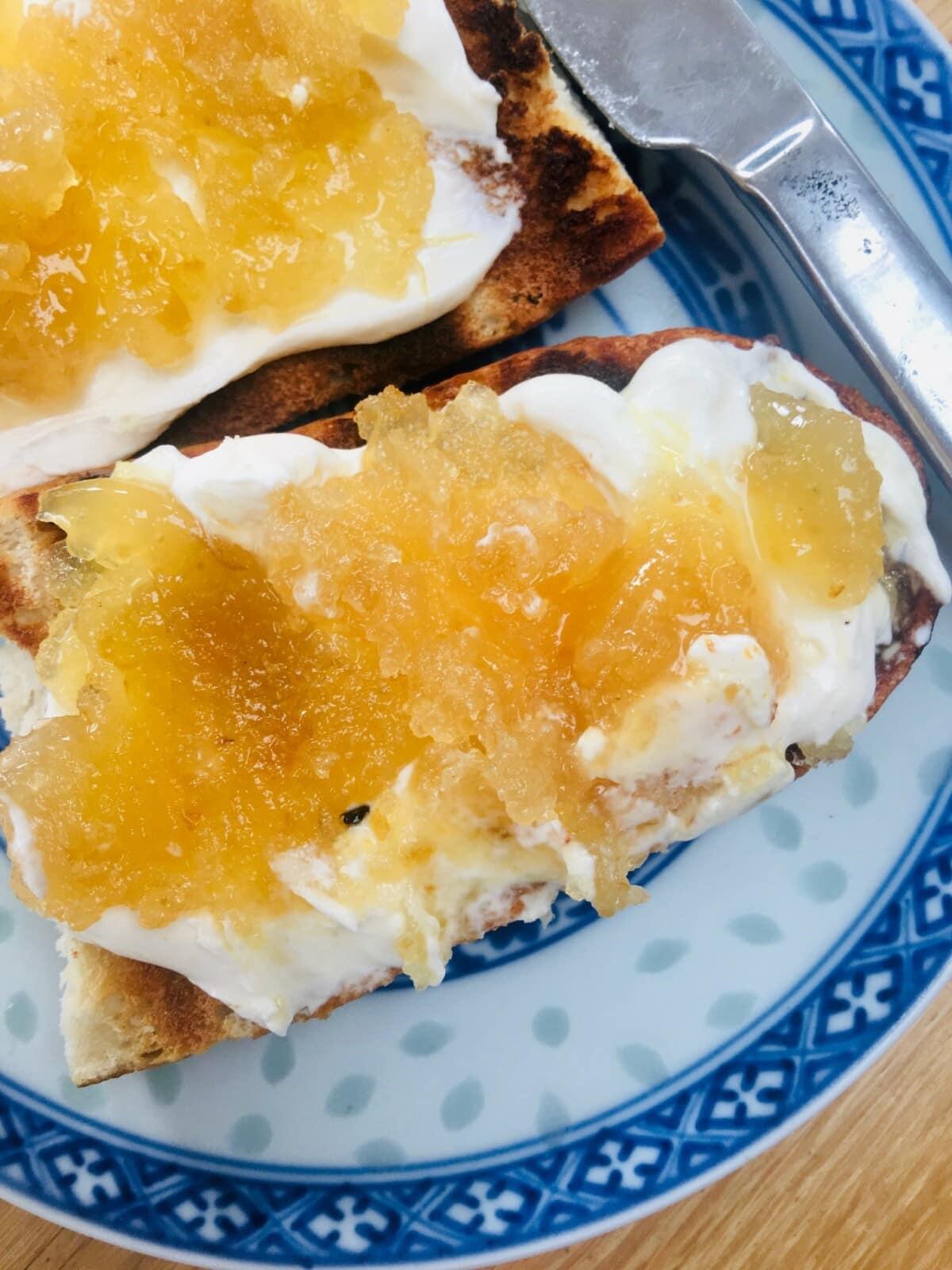 Lemon Peel Jam on toast - close up