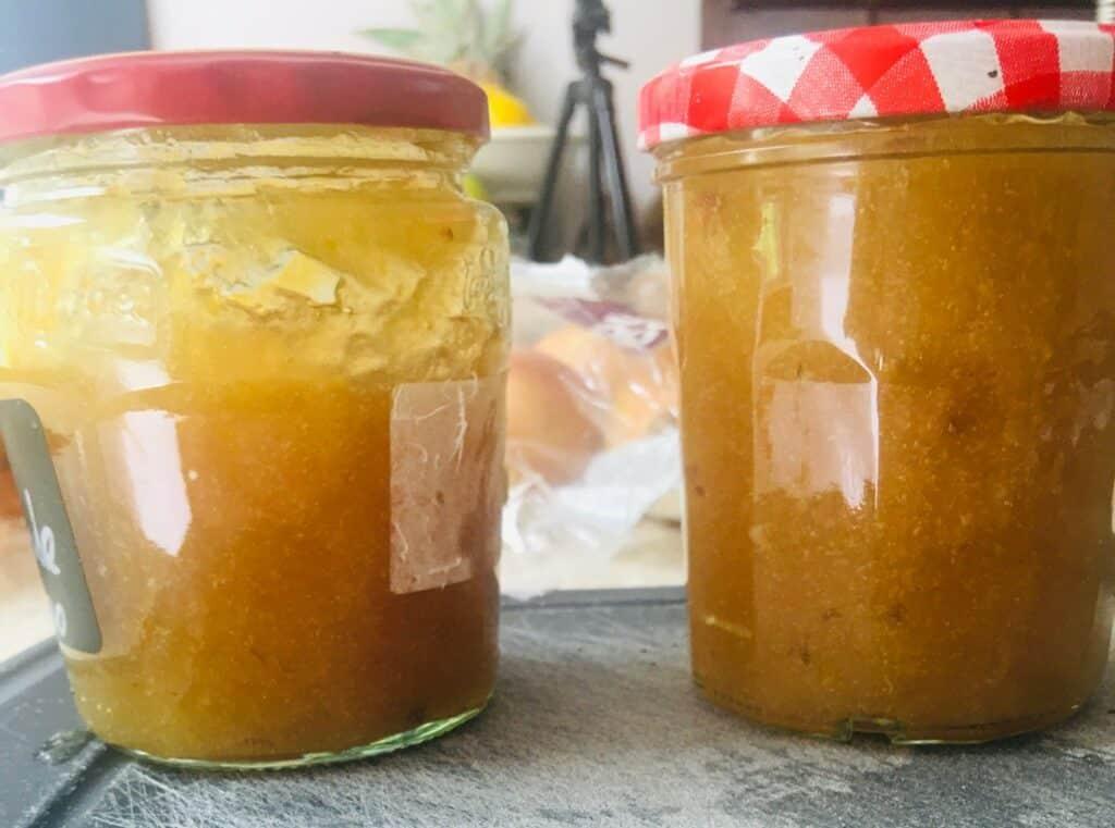 lemon peel jam - in jars