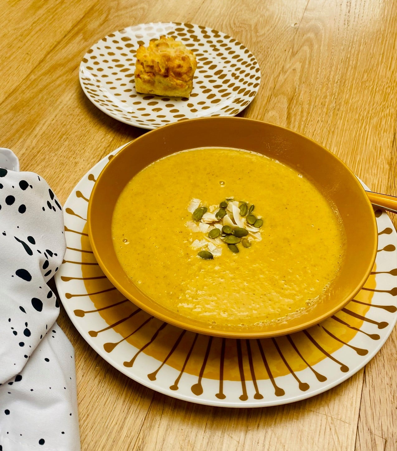 Curried Pumpkin and Coconut Soup with Vegetable Muffin