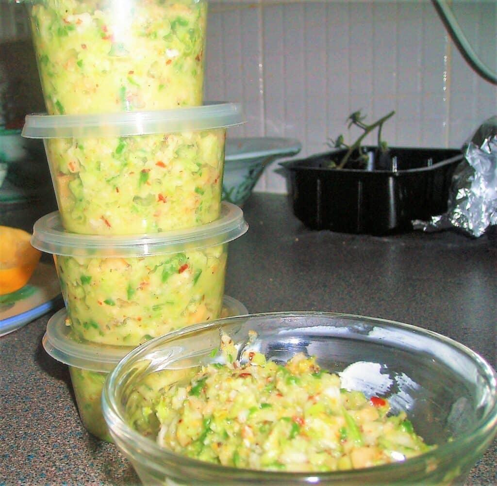 broccoli pesto in small pots