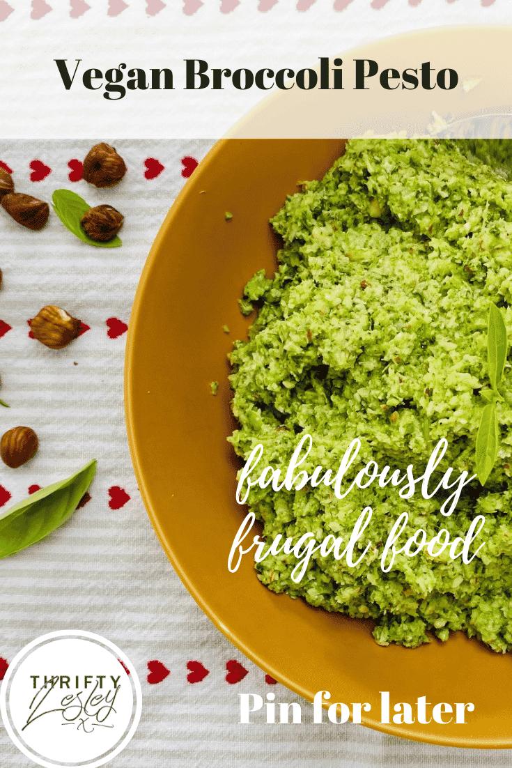 A Pinterest image of vegan broccoli pesto