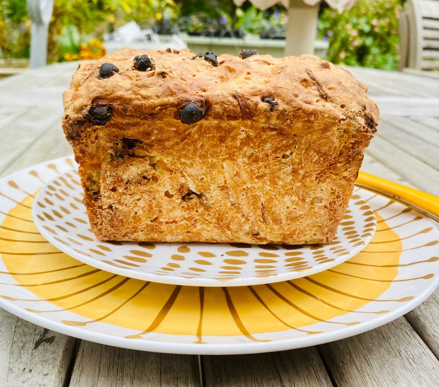 carrot and sultana loaf - whole loaf, baked - side view